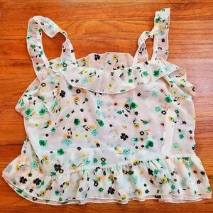Who What Wear white floral crop top size XL